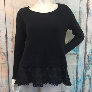 ANTHROPOLOGIE Knitted & Knotted Blue Lace Sweater